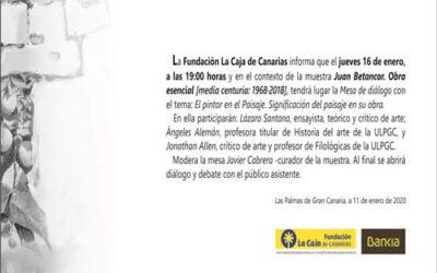 Mesa de diálogo en torno a la muestra  Juan Betancor, Obra esencial (Media centuria: 1968-2018)