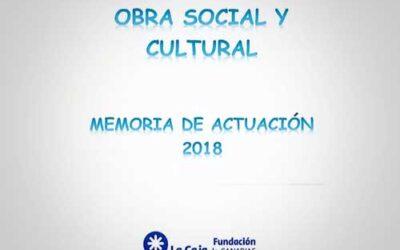 Memoria de Actuación Obra Social y Cultural